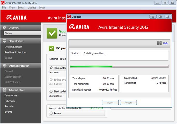 avira antivirus update binnenhalen